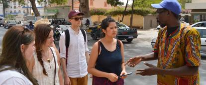 Volunteers on the French Language Project in Senegal learning about the culture while out and about